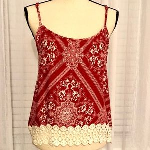 Red White Tank Top Lace Medium
